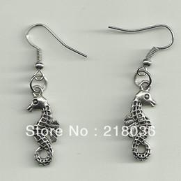 Wholesale Antique Seahorse - Free Shipping Wholesale Fashion 50Pair Antique Silver Seahorse Charms Drop Earrings For Women Accessories Gift DIY Findings Jewelry N1063