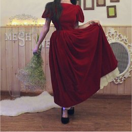 fashion dresses 12 years 2018 - Burgandy Bateau Short Sleeve V Back Floor Length Vintage Prom Dresses Fashion New Year Pageant Prom Dress