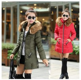 Wholesale Women Coat Size Large - Winter Women Parka Fashion Outerwear Duck Down Jacket With Large Fur Collar Plus Size S - 4XL Thickening Long Coat