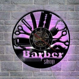 Wholesale Hair Salon Wall - Barber Shop Hair Salon Best Custommade Gifts Wall Decor Popular Wall Art Modern Design Decal DIY 3D Led Backlight Vinyl Record Wall Clock