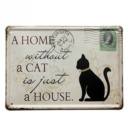 Wholesale Living Room Sign - Vintage Black Cat Tin Sign Stamp Vintage Pub Wall Decor Thanksgiving Day Gift