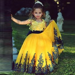 Wholesale Girls Bright Pink Dresses - Hot Sale 2016 New Bright Yellow New Arrivel Lace Applique Navy Blue Sash Navy Bow Baby Infant Flower Girl Dresses