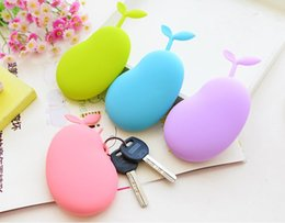 Wholesale Silicone Purse Coin Card Holder - 2 PC Women Girls Cute Candy Color Silicone Coin Purse Pouch Key Wallets Bag Pendant