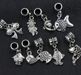 Wholesale European Fishing - 90pcs lot 9Styles Antique Silver Assorted Goldfish Fish Alloy Big Hole Dangle Beads Loose Bead Fit European Charm Bracelet