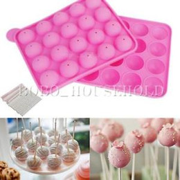 Wholesale Lollipops Molds - Wholesale- 20-cavity Cake Cookie Chocolate Silicone Lollipop Pop Molds Mould Baking Tray Stick Party Decorating Tool