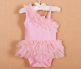 Wholesale Bubble Months - Baby Lace Layered Tutu Romper Summer Princess Girl Red Pink Bubble Sleeveless Suspender Bodysuit One-piece Infant Cotton Jumpsuit I4492