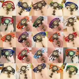Wholesale Owl Key Pendant - New Arrivals Leather Hand Knit Vintage Watches,bracelet Wrist watches Leaf Pendant Butterfly Leaf Owl Key Clover