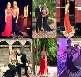 Wholesale Dresses Made Usa - Real Image Miss USA Pageant Dress 2016 Sheer Neck Gold Appliques Mermaid Black Red Teen Evening Prom Gown Occasion Event Wears Cheap Custom