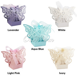 Wholesale Butterfly Box Wedding - 100Pcs lot Laser Cut Hollow Multicolor Butterfly Candy Box Wedding Party Supply Favor Gift Box with Ribbon