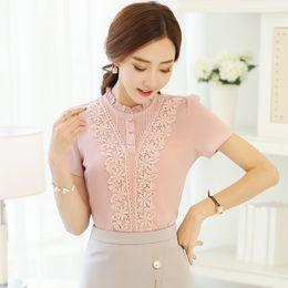 Wholesale Korean Collar Shirt Women - Summer Women Blouse Korean Stand Collar Short Sleeve Blusas Sweet Embroidery Chiffon Shirt Solid Color Shirts Tops S-3XL