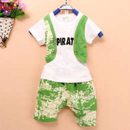 Wholesale Boys Fake 2pcs - 2015 Hot Selling Summer Clothing Sets Baby Boys Sport Suits Fake 2Pcs Vest T-Shirt Shorts Pant Clothes Kids Tees Cotton Outfits New SV020053