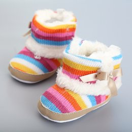 Wholesale Knit Shoes For Babies Girls - eClouds Winter Warm Baby Prewalker Boots Rainbow Stripe Infant Toddler Non Slip Fleece Thicken Shoes Newborn knitted Baby Shoes for Girl
