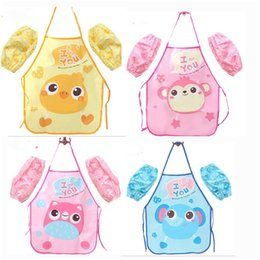 Wholesale Gadgets Children - Kids Aprons with Sleeve Craft Art Painting Gadgets Cooking Baking Aprons Children Kitchen Aprons (Apron + oversleeve)
