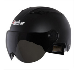 Wholesale Motorbike Scooters - A#12 Free Shipping Vintage Andes-X333-L ABS Scooter Racing Casco Motorbike Bicycle Motorcycle Full Matte Black Helmet & UV Lens Adult Summer