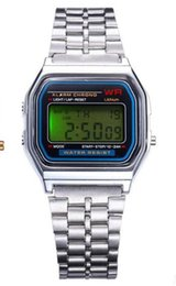 Wholesale Mens Watches Square Digital - New A159W watches Mens Classic Stainless Steel Digital Retro Watch Vintage Gold and Silver Digital Alarm A159W Sports Watches A159 A159W