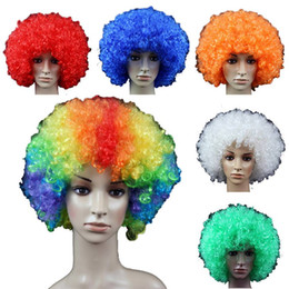 Wholesale Pink Afro - Retail Halloween wigs Afro wig dance performances Clown wig fans send men and women general Free shipping