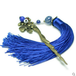 Wholesale Hairpin Tassel - Wholesale-Ethnic jewelry fashion long tassel vintage hair accessories, traditional hair jewelry ethnic vinatge hair stickers hairpins