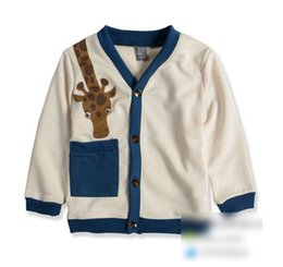 Wholesale Giraffe Baby Clothes - Hot 2015 Spring Children Boys Cotton Cardigan Coats Cartoon Giraffe Baby Long Sleeve Buttons Pocket Kids Outwears Child Clothing Beige L2470