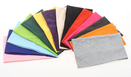 Wholesale Boys Handmade - Women Plain Wide Yoga Sport Fabric Bandanas Stretch Elastic Headbands 24cm*14cm Fashion Hair Accessories Turban 14 Color BY0000
