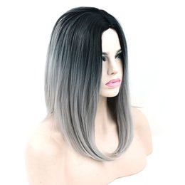 Wholesale Gray Short Cosplay Wigs - hanzi_beauty 12 Colors Synthetic Hair Black To Gray Purple Ombre Hair Short Bob Wigs for Women Straight Hair Headwear Cosplay Wig 16inches