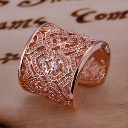 Wholesale Gold Filled Rings Prices - Top sale Factory price Sterling Silver gold plated fashion jewelry Zircon heart women lady Austria crystal ring R108