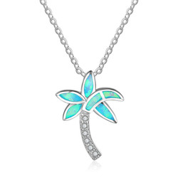 Wholesale Silver Blue Diamond Heart Necklace - Coconut Tree Design Blue Fire Opal Pendant Necklace Simulated Diamond Cubic Zirconia 925 Sterling Silver Necklace