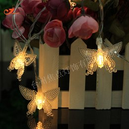 Wholesale Butterfly Light Bulb - Wholesale- Hot Sale Spring Garden Butterfly 10 LED String Lights Colorful Warm Amber Bulb Garland Garden Outdoor Party Home Decor RGB Strip