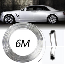 Wholesale Silver Moulding Trim - 6M Chrome Silver Car Body Door Edge Moulding Trim Strip Scratch Guard Protector Air Conditioner Air Outlet Decorative Strips