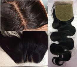 Wholesale Silk Base Brazilian Wave - 8A Body Wave Human Hair 4x4 Silk Closure Bleached Knot Free Middle 3 Part Silk Base Closure silk closureTop Lace