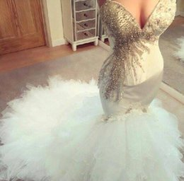 Wholesale Elegant Wedding Gowns Bling - Charming 2016 Mermaid Wedding Dresses Sweetheart Bling Crystal Beaded Tiered Skirts Sexy Backless Custom Made Elegant Bridal Gowns BA2307