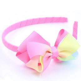 Wholesale Inspire Hair - free shipping Rainbow Ombre Headband Jojo siwa inspired rainbow large hair bow 5 inch big hair bow girls