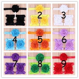 Wholesale Shabby Headband Foot Flower - Factory Price Baby Headbands Girl Sandals Barefoot Shabby Chiffon Foot Flowers Set Infant Children First Walker Shoes Christmas Hairbands