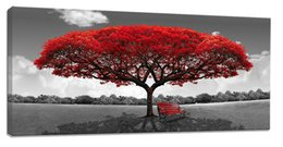 Wholesale Red Tree Wall Art - YIJIAHE Painting Modern Wall Art,Abstract Red Tree Print on Canvas,Contemporary Framed Artwork for Living Room Bedroom Decoration