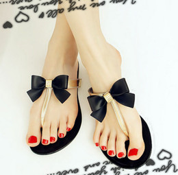 Wholesale Women Jelly Flats Sandals - Bow Thong Jelly Shoes Woman Jelly Flip Flops Sandals Ladies Flat Slippers