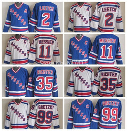 Wholesale Brian Leetch Jersey - Factory Outlet, New York Rangers Throwback Hockey Jerseys 11 Mark Messier 35 Mike Richter 2 Brian Leetch 99 Wayne Gretzky Vintage V Neck Jer
