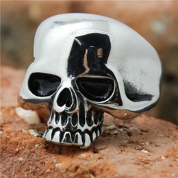 Wholesale Top Skull Rings - 1pc Fashion Polish Popular skull Ring 316L Stainless Steel Popular Cool Man Band Party Top Quality Evil skull Ring