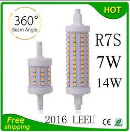 Wholesale R7s 118mm - FREE SHIP R7S LED Bulb 7W 14W SMD2835 85-265V 78mm 118mm LED Lamp Bulb R7S Light 360 Degree lighting lamps Halogen Lamp Floodlight