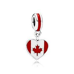 S925 Sterling Silver Canada Drapeau Drapeau Dangle Charme Perle avec émail Convient Pandora Européenne Bijoux Bracelets Colliers Pendentif ? partir de fabricateur
