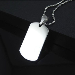 Wholesale Necklace Men Dog Tags - Wholesale Blank Engravable Stainless Steel Cat Dog Tag Military Shape Men Pendant for boys Free Shipping