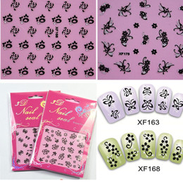 Wholesale Plastic Bow Charms - 50sheets 3d Charm Flower Bow Butterfly Nail Art Glitter Sticker Foils Wraps Decorations Care Salon Manicure Tools XF151-180