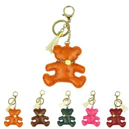 Wholesale Bear Keychain Leather - Delicate Orange Cute Novelty Car Keychain Jewelry Bag Accessories Charm Leather Bear Key Ring Holder Keyfob