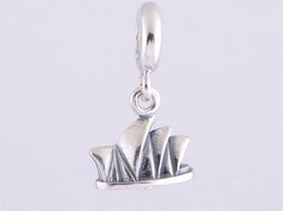 Wholesale Silver House Pendant - 925 Sterling Silver Sydney Opera House Dangle Pendant Charm DIY Craft Charms Jewelry Fits European Bracelet Ly