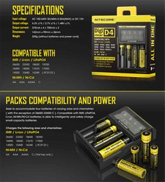 Wholesale Ni Mh Rechargeable - Nitecore D4 Universal Charger 18650 Rechargeable Batteries LCD Display Charger For Box Mod AAA Li-ion Ni-MH 26650 22650 E Cigarettes Battery