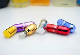 viales de perfume de metal Rebajas 3 ml rollo de vidrio en botella Mini botella de aceite esencial recargables minúsculos frascos de vidrio de perfume 7 colores envío gratis