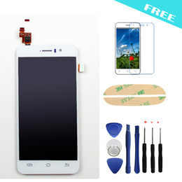 Wholesale Mtk6589 White - Wholesale-White JiaYu LCD Display+Touch Screen Digitizer Replacement Assemble For JIAYU G4 G4S MTK6589 Touch Pane+Free film+tools+sticker