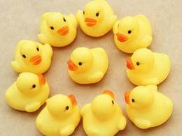 Wholesale Hot Girl Bath Boy - Hot Sale 20pcs lot 4x4cm Cute Baby Girl Boy Bath Bathing Classic Toys Rubber Race Squeaky Ducks Yellow