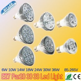 Wholesale Cree Led Retail - Retail E27 par20 30 38 Led bulb 6W 10W 14W 18W 24W 30W 36W dimmable 110-240V LED Lighting Spot Lamp light downlight spotlight lights by DHL