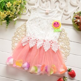 Wholesale Pink Rose Brand Dress - Summer Toddler Girls Dress Rose Flower Colorful petals Gauze Baby Tutu Dresses Sleeveless Kids Vest Princess Dress