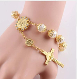 Wholesale 12 Strand - New Desginer Top Quality Women Accessories glass pearl Bead Bracelet With Cross Pendant catholic Rosary Bracelets 12 pcs  lot
