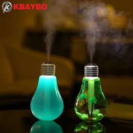 Wholesale Aroma Diffuser Bottle - Usb Ultrasonic Humidifier Home Office Mini Aroma Diffuser Led Night Light Aromatherapy Mist Maker Creative Bottle Bulb